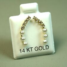 14k solid yellow gold cultured Pearl, white Topaz stud earrings butterfly backs
