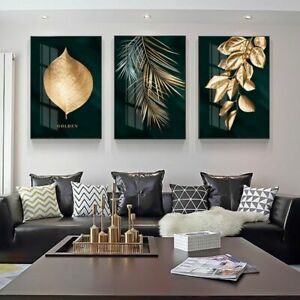 Nordic Decoration Golden Leaf Canvas Abstract Painting Wall Art Poster And Print