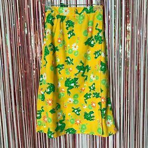 Vintage 1960s 1970s Handmade Yellow + Green Frog Print Novelty Wrap Skirt M/L