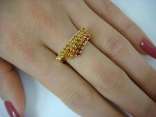 !UNUSUAL 14K YELLOW GOLD 3 ROW MULTI-COLOR CITRINE LADIES RING, 3.8 GRAMS