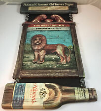 Vintage Hamm's Famous Old Tavern Signs Red Lion Inn W/ Beer Bottle Founded 1730
