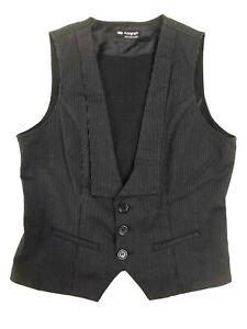 Ladies waistcoat Marks & Spencer Size 12 Autograph Black Striped Collar Xmas VR2
