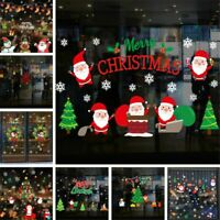 Christmas Window Glass Stickers Decal Santa Snowman Shop Xmas Party Wall Decors