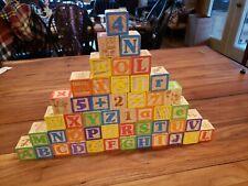 Garanimals 48 Color Wooden Alphabet & Number Building Blocks Set Draw String bag