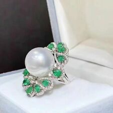 12-13 mm round genuine South sea white pearl ring