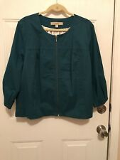 Motto Fully Lined Cotton Twill Zip Front Cropped Jacket, Teal color, size XL