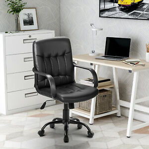 Small Office Chair Leather Task Computer Desk Swivel Executive Adjustable Study