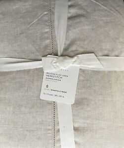 Pottery Barn Belgian Flax Linen Hemstitch Shower Curtain In Flax
