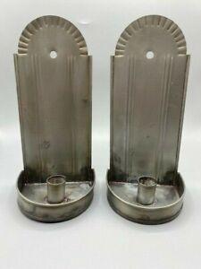 "Virginia Metalcrafters Waynesboro, VA Set of Two Rustic Tin Candle Sconces, 10"""