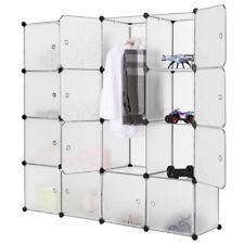 Mobile armadio modulare quadrato 16 scomparti Bianco CON RICAMI guardaroba abiti