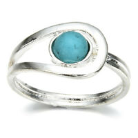 Sparkling Silver Turquoise Gemstone Jewelry Ring Women Wedding Bridal Sz 6-10 TR