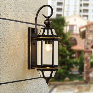Vintage Loft Brass/Black Metal Lantern Glass Outdoor Courtyard Wall Light Sconce