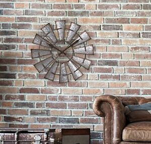 "Large Windmill Wall Clock ~ Rustic Metal Galvanized Farmhouse Decor ~ 22"" Dia"