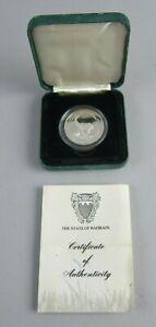 1986 SILVER BAHRAIN PROOF 5 DINARS RHIM GAZELLE Coin MIB with COA