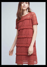 NWT Anthropologie Zero to Sky Fringed Lace Tunic Dress Rust XS $168 Brick Rose