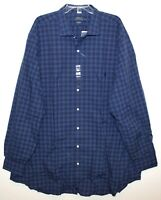 Polo Ralph Lauren Big Tall Mens 3XB Blue Plaid Button-Front Dress Shirt NWT 3XB