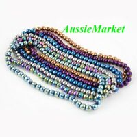 100 x glass beads electroplated round spacer loose 6mm mixed colours jewellery