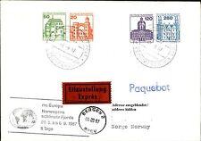 Schiffspost Brief Eilzustellung Ship Schiff MS EUROPA Paquebot aus BERGEN 1987