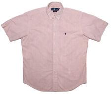POLO RALPH LAUREN Short Sleeve Button Shirt Coral Striped Seersucker Medium M