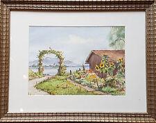 Aquarell von Wolfgang Greiler Blick zur Fraueninsel Chiemsee Rahmen u Glas