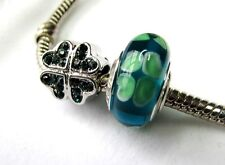 CLOVER SHAMROCK CHARMS Mom IRISH GREEN Crystal MURANO GLASS EUROPEAN + POUCH