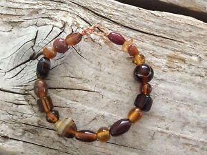 Amber Honey Glass Wire Wrapped Bangle Bracelet Wrap Boho Solid Copper Boho Mini