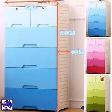 5 Tier Organiser Drawer Storage Plastic Cabinet Level Wheel Box Coloured HCOC595