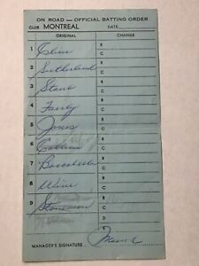 Montreal Expos Baseball 1969 Game Used Lineup Card Rusty Staub  Mauch 3