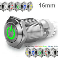 1pc 16mm 12V Car LED Power Push Button Metal ON/OFF Switch Latching Waterproof