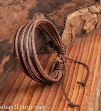 Fashion Mens LEATHER WRIST BAND BRACELET MULTI WRAP HEMP SURFER BRAID CUFF Brown