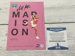 Madison Keys Signed Autographed 5x7 W&S Card Beckett BAS COA a
