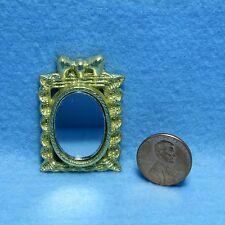 Dollhouse Miniature Detailed Gold Tone Small Square Wall Mirror  IM65398