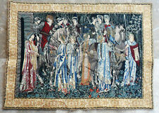 "LARGE FRENCH WALL HANGING TAPESTRY Knights and Ladies of Camelot 44"" x 33"""