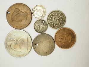 Lot Of 7 Mixed Cull lot Silver 2 Cent Silver Seated Half and more M-B