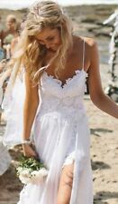 Sexy Spaghetti strap Bridal Dresses White Ivory Lace Backless Beach Wedding Gown