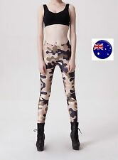 Women Army beige Military Camouflage Camo Party Skinny Leggings Pants Jeggings