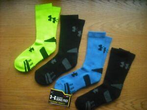 Boys NWT Under Armour Crew Socks 4prs Blue Neon Yellow Black Sz:YGL Ages 8-11