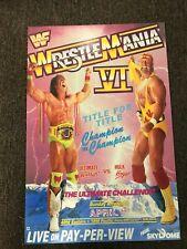 "WWF WWE Wrestlemania 6 VI Promo Poster Hulk Hogan Ultimate Warrior 12""x18"""