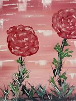 Original Oil Painting On Canvas 11x14 (Roses in A Field)