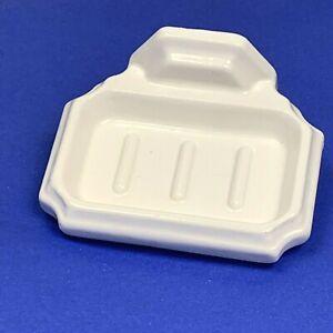 Vintage Wall Mount Soap Dish White Ceramic Ribbed Decorative Glossy No Bracket