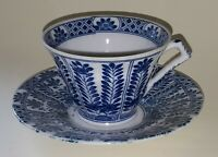Chinese export blue & white vintage Victorian antique cup & saucer duo B