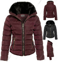 Size 8 10 12 14 16 Womens QUILTED Ladies Fur Collar JACKET COAT PADDED PARKA