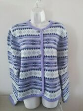 Tally-Ho Purple Alpine WOOL Cardigan Sweater Sz Large