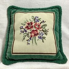 More details for vintage needlepoint cushion pillow hand sewn velvet green beige red pink blue