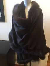 NEW ST. JOHN COATS WOOL CASHMERE BROWN WITH FOX FUT TRIM PONCHO CAPE