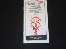 1988-89 LINCOLN CITY FC FIXTURE LIST