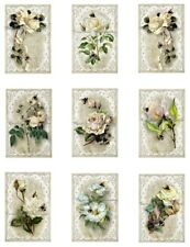 """White Roses & Bees Cotton Fabric Quilt Blocks (9) @ 2X3"""" on 8.5X11"""" Sheet"""