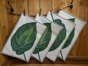 Set of 4  Martha Stewart 100% Cotton 19 x 13 Placemats Tropical Leaf Natural