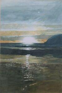 Late 20th C Watercolour. Sunset Porthcothan, Cornwall. John Floyd