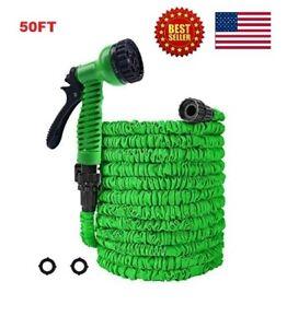 50FT Green Expanding Flexible Garden Water Hose with Spray Nozzle